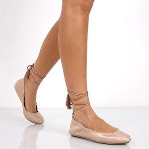 Joie Pink Bandele Lace Up Ballerina Flats Size 9